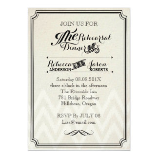 rustic vintage Typography  rehearsal dinner 5x7 Paper Invitation Card