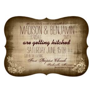 Rustic Vintage Typography Wedding Invitations