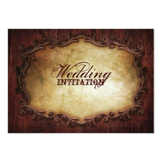 rustic vintage typography western country wedding card