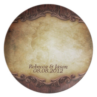 rustic vintage typography western country wedding dinner plate