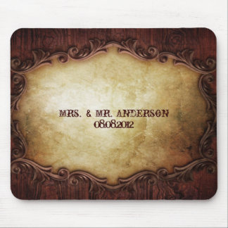 rustic vintage typography western country wedding mouse pad