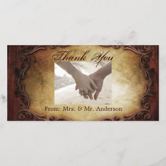 rustic vintage typography western country wedding thank you card