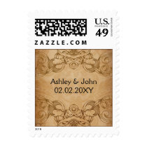 Rustic Vintage Wedding Invitations Postage
