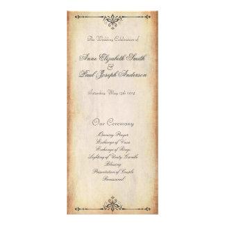 Rustic Vintage Wedding Program Custom Rack Cards