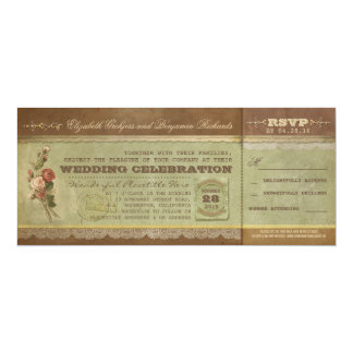 """Rustic vintage wedding tickets with RSVP 4"""" X 9.25"""" Invitation Card"""
