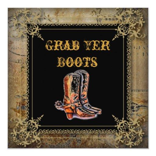 rustic vintage western country cowboy wedding card
