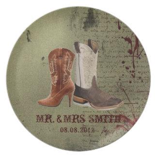 rustic vintage western country cowboy wedding dinner plate