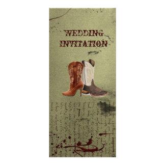 rustic vintage western country cowboy wedding rack card
