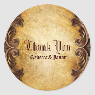 rustic vintage western country wedding thank you classic round sticker