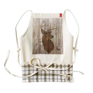 rustic vintage  western country wood grain deer zazzle HEART apron