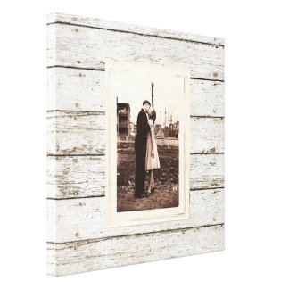 rustic  vintage white barn wood barn wedding canvas print