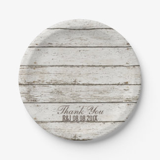 rustic vintage white barn wood barn wedding favor paper plate