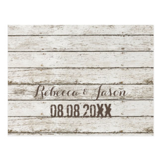 rustic vintage white barn wood  save the date postcard