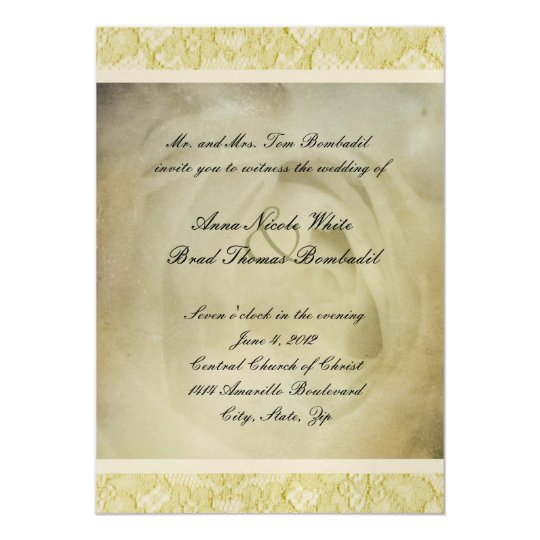 Rustic Vintage White Rose Wedding Invitation