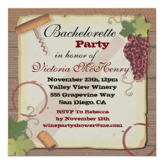 Rustic Vintage Wine Tasting Bachelorette Party Card