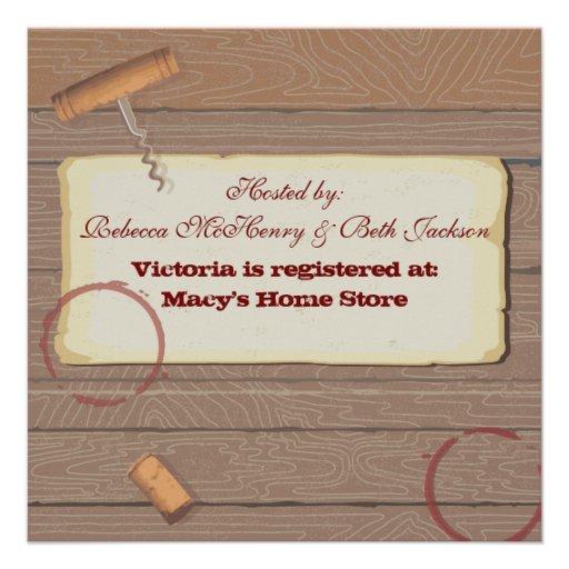 Rustic Vintage Wine Tasting Bachelorette Party Custom Invitations (back side)