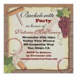 "Rustic Vintage Wine Tasting Bachelorette Party 5.25"" Square Invitation Card"