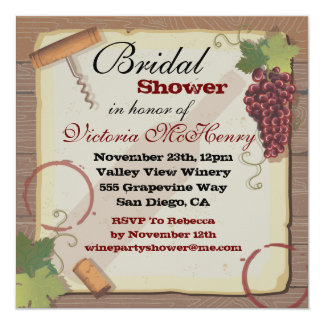 Rustic Vintage Wine Tasting Bridal Shower Card