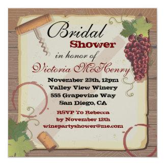 "Rustic Vintage Wine Tasting Bridal Shower 5.25"" Square Invitation Card"
