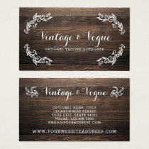 Rustic Vintage Wood Elegant Country Farm Boutique Business Card