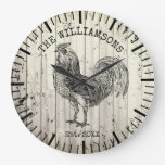 Rustic Vintage Wood Family Name Farm Rooster Large Clock