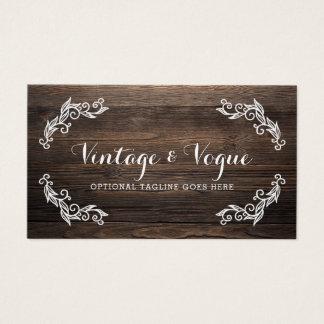 Rustic Vintage Wood Simple & Elegant Boutique Business Card