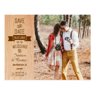 Rustic Vintage Wood Typography Photo Save the Date Postcard
