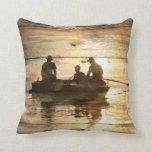 Rustic vintage woodgrain country canoeing fishing pillows