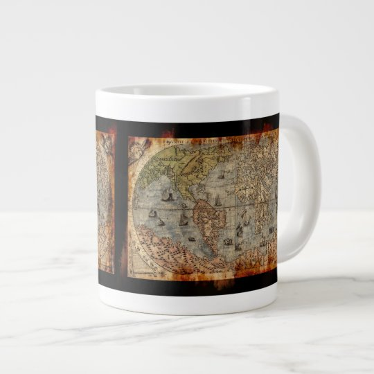 Rustic Vintage World Map Jumbo Soup Mug