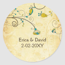 rustic vintage yellow floral envelope stickers