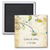 rustic vintage yellow floral save the date magnet