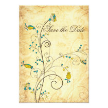 rustic vintage yellow floral Save the dates Card