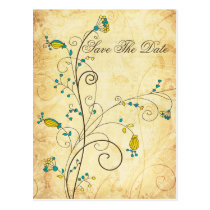 rustic vintage yellow floral Save the dates Postcard