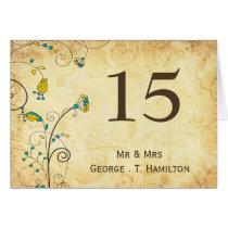 rustic vintage yellow floral  table numbers card