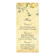 rustic vintage yellow floral wedding menu cards