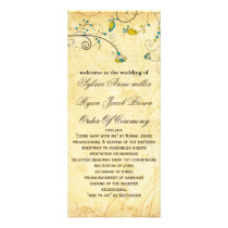 rustic vintage yellow floral wedding program