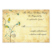 rustic vintage yellow floral wedding rsvp 3.5 x 5 card