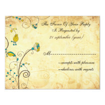 rustic vintage yellow floral wedding rsvp card