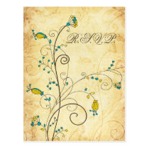 rustic vintage yellow floral wedding rsvp postcard