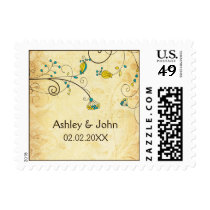 rustic vintage yellow floral  wedding stamps