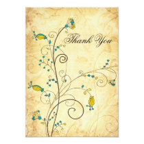 rustic vintage yellow floral wedding Thank You Card