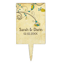 rustic vintage yellow personalized cake pick