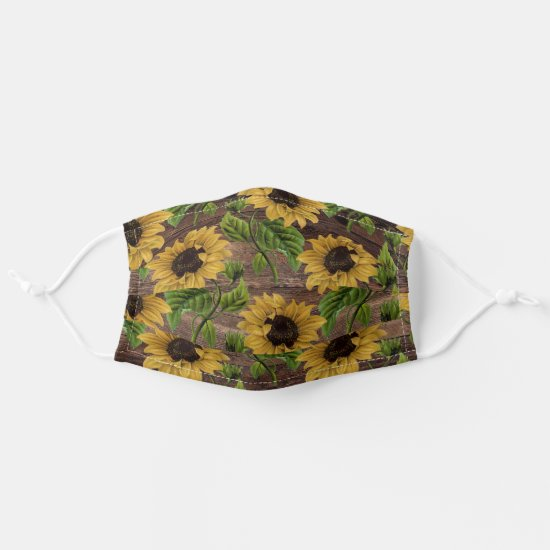 Rustic Vintage Yellow Sunflowers Wood Cloth Face Mask
