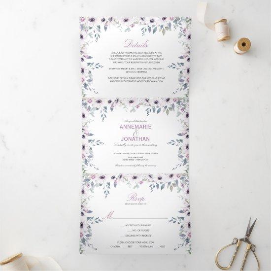 Rustic Violet & Pink Watercolor Roses Wedding Tri-Fold Invitation