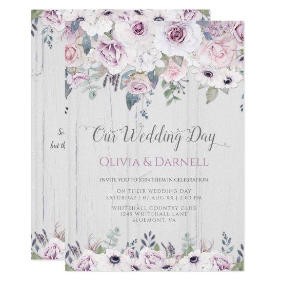 Rustic Violet Purple Lavender White Floral Wedding Invitation