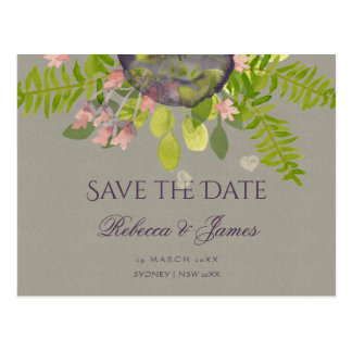 RUSTIC VIOLET WILD FLOWERS & FERNS Save the date Postcard