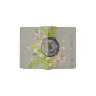 RUSTIC VIOLET YELLOW WILD FLOWERS & FERNS MONOGRAM PASSPORT HOLDER