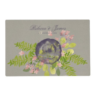 RUSTIC VIOLET YELLOW WILD FLOWERS & FERNS MONOGRAM PLACEMAT