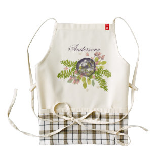 RUSTIC VIOLET YELLOW WILD FLOWERS & FERNS MONOGRAM ZAZZLE HEART APRON