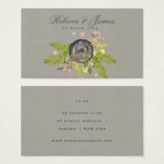 RUSTIC VIOLET YELLOW WILD FLOWERS & FERNS Wedding Business Card